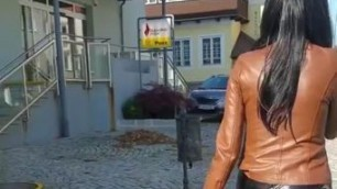 GRANATE FETISH IN PUBLIC, SHOPPING, LONG LATEX BOOTS, PVC PANTS, LEATHER