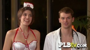 Kinky swinger nurses and sucking cocks and pussies by turns!