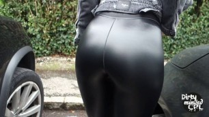 WITH TIGHT LEATHER LEGGINGS INTO CITY FOR COFFEE