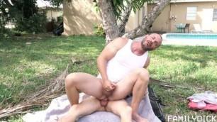 Family Cock Yard Work